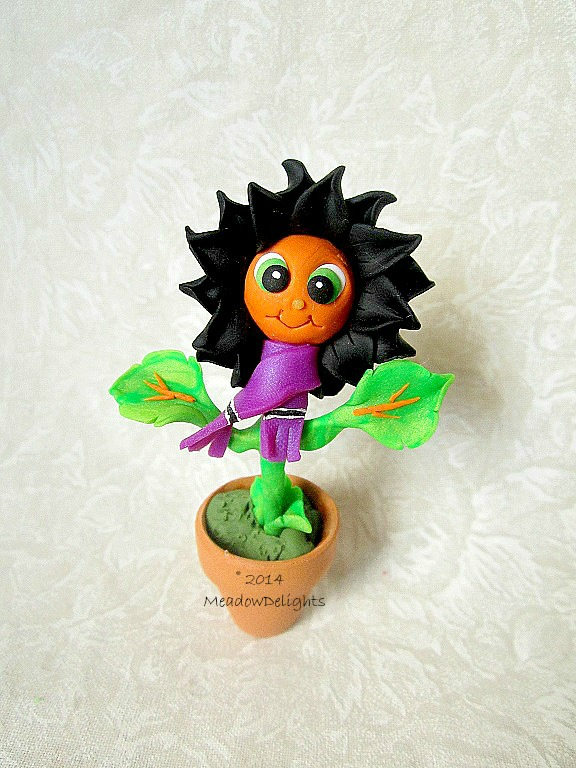 Teeny Halloweeny - Minature Handmade Clay Flower by MeadowDelights