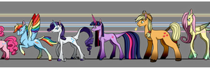 Mane Six Redesign: Height Chart by Kon-Tengu