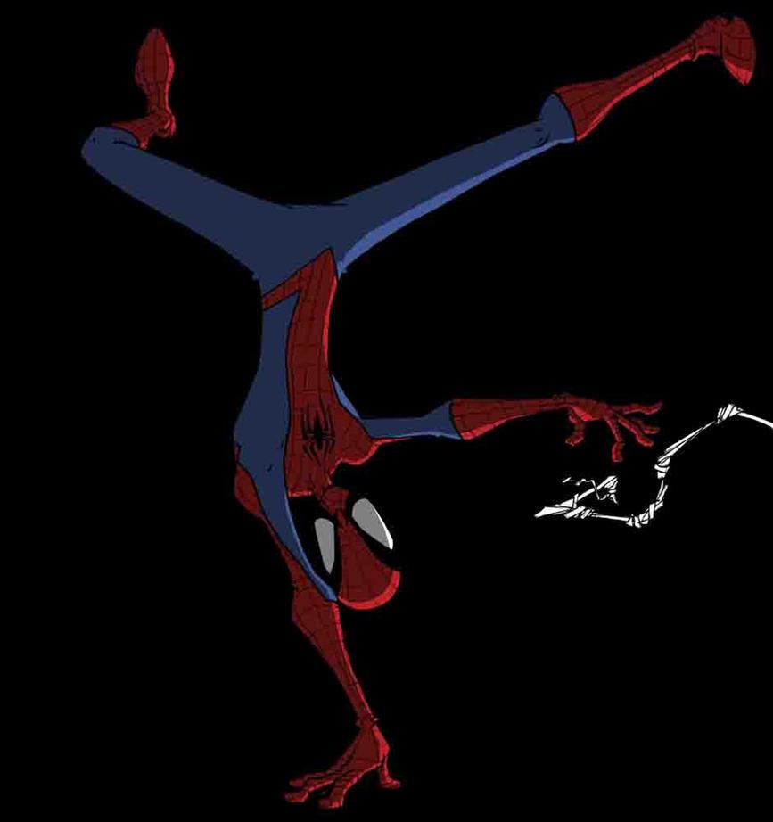 spider-man handstand by maxthevikingpirate