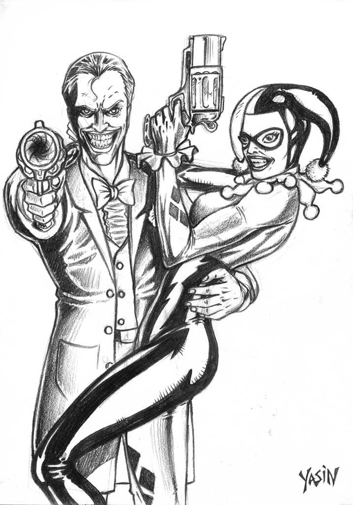 Joker and harley quinn by yasinyayli on deviantart for Harley quinn coloring pages