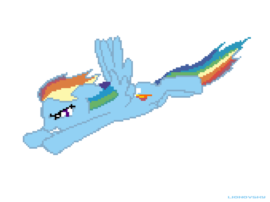 Flying Rainbow Dash by lionovsky
