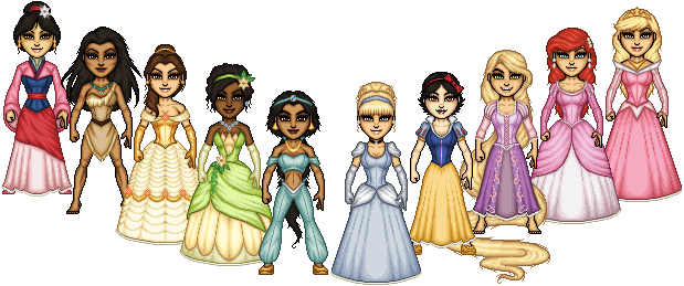 Looking Disney princess group technique one