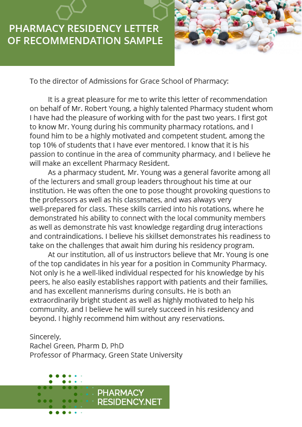 pharmacy residency letter of recommendation sample by