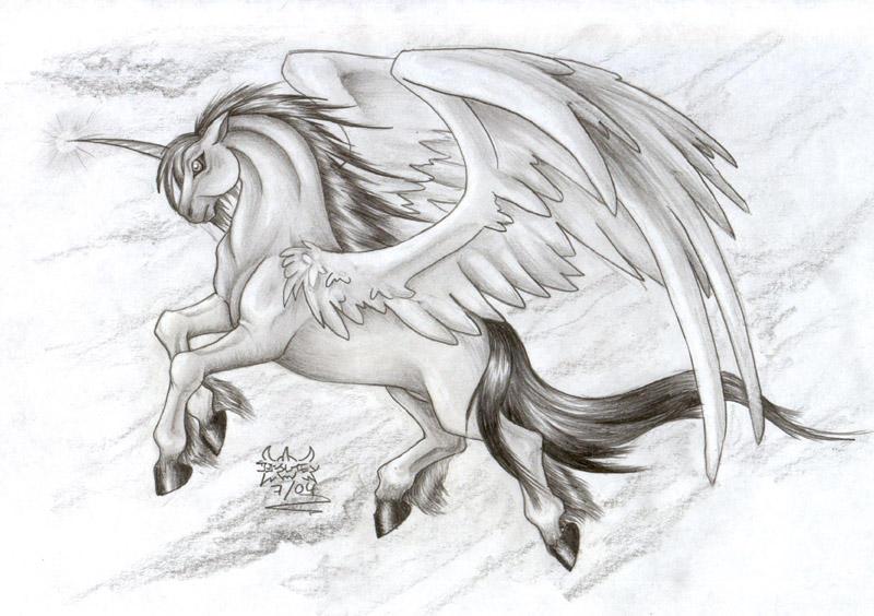 Winged Unicorn Tattoo