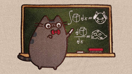 Pusheen Teaches Calculus - Embroidered Patch by Spaceguy5