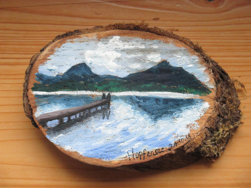 Hopfensee woodpainting by Alpacalligraphy