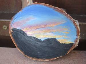 Sunset wood painting