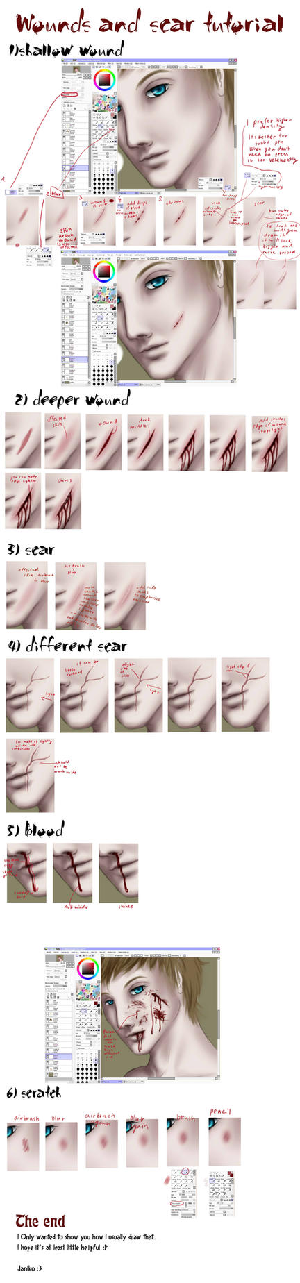 Wounds and scars tutorial by Janiko-neko-chan