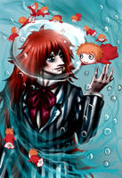 Fujimoto with Ponyo by Janiko-neko-chan