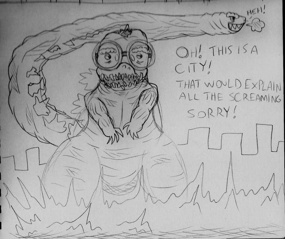 Sketchy Sunday : Shin Godzilla needs glasses by jimsupreme