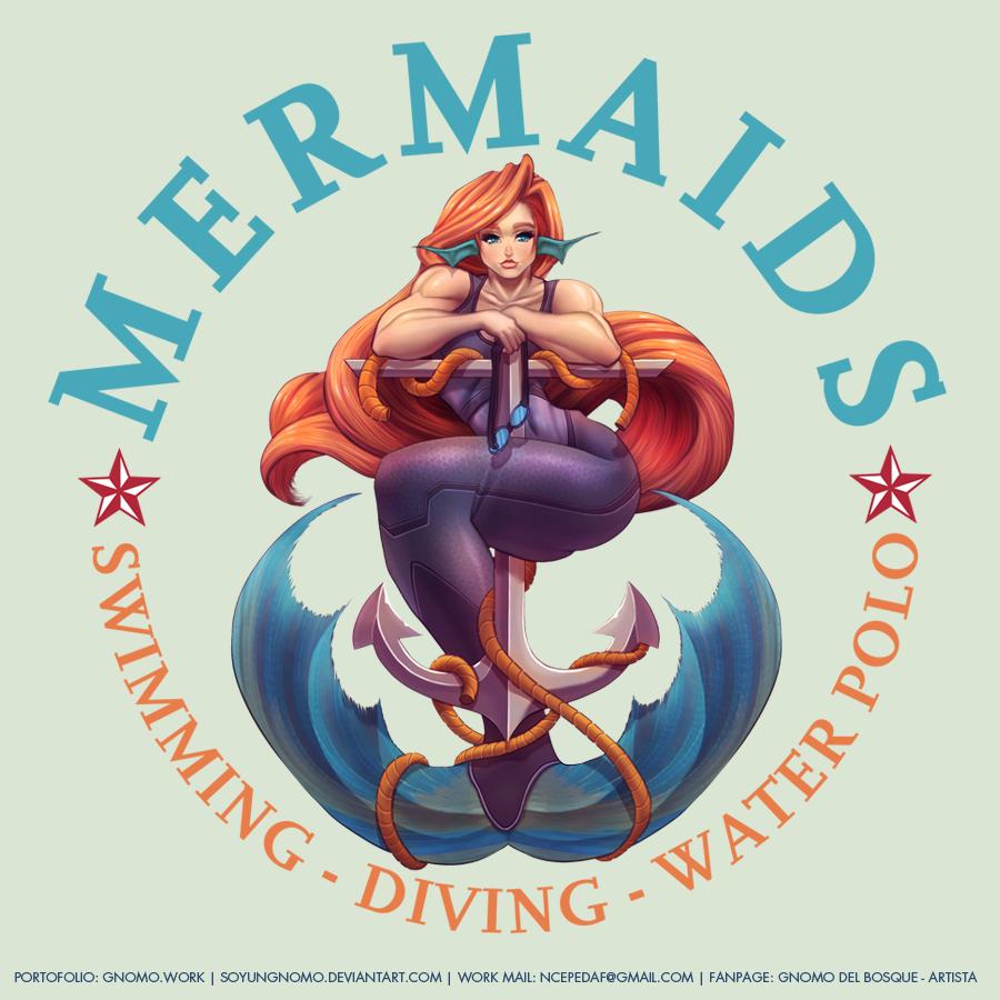COMMISSION: Mermaids - Swimming Club Logo