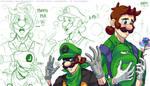 CEO Luigi and Mr L sheet - Mushroom Kingdom AU by DasGnomo