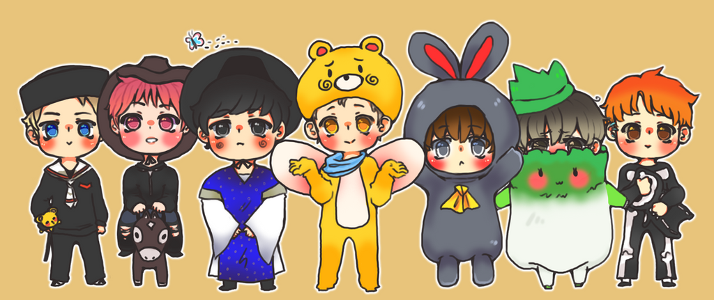 Cartoon Characters 21st Century : Bts st century girl chibis by xholyknightagrias on