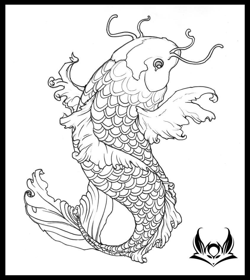 Koi Tattoo sans Color by Liren