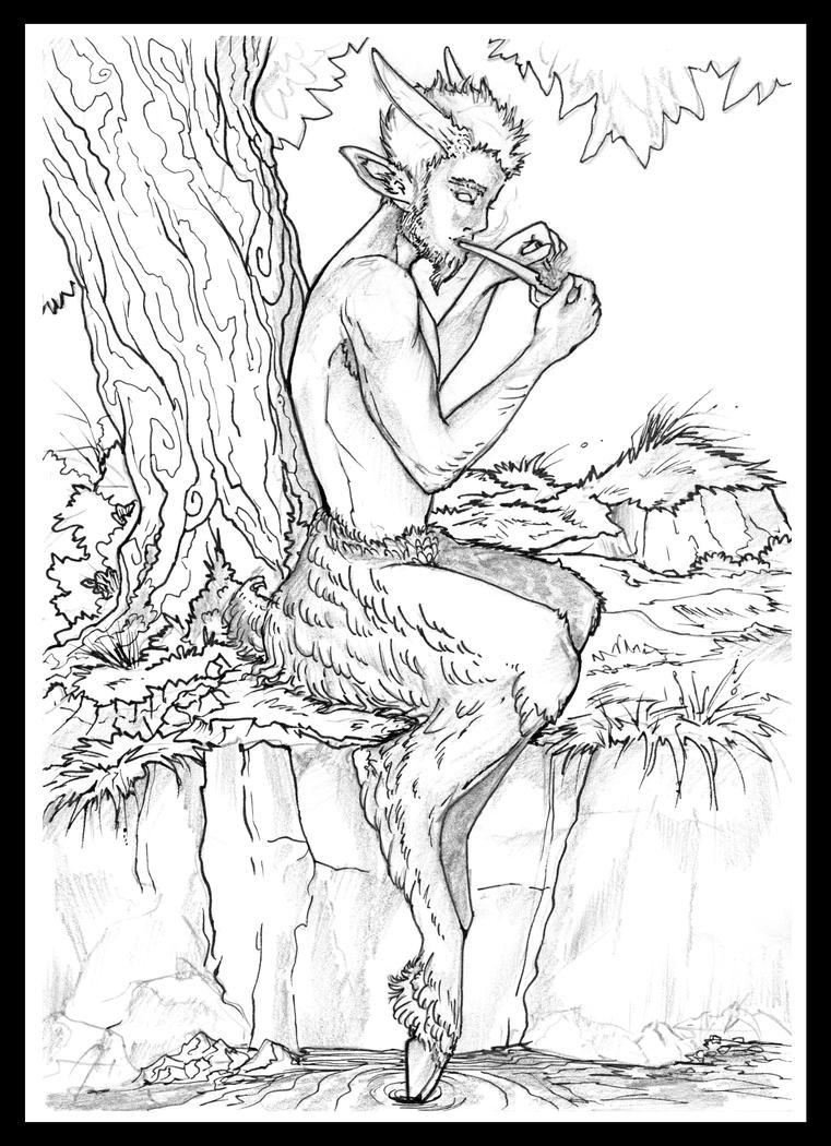 Satyr Relaxing by Liren