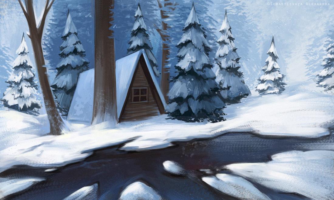 Snowy mood sketch by sashulka