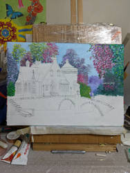 Bridge and house in oils WIP2