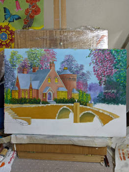 Bridge and house in oils WIP4