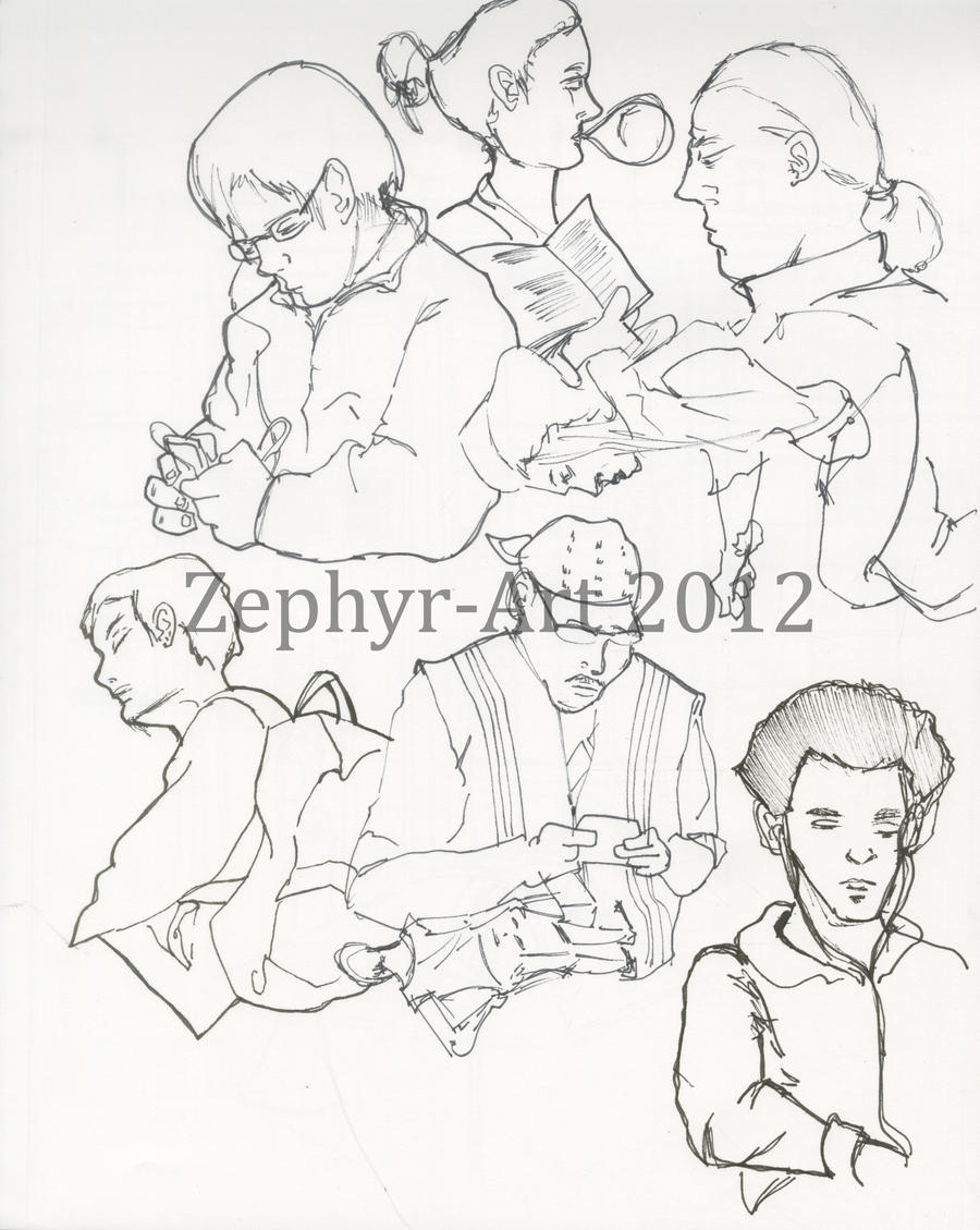 People on the BART by Zephyr-Art