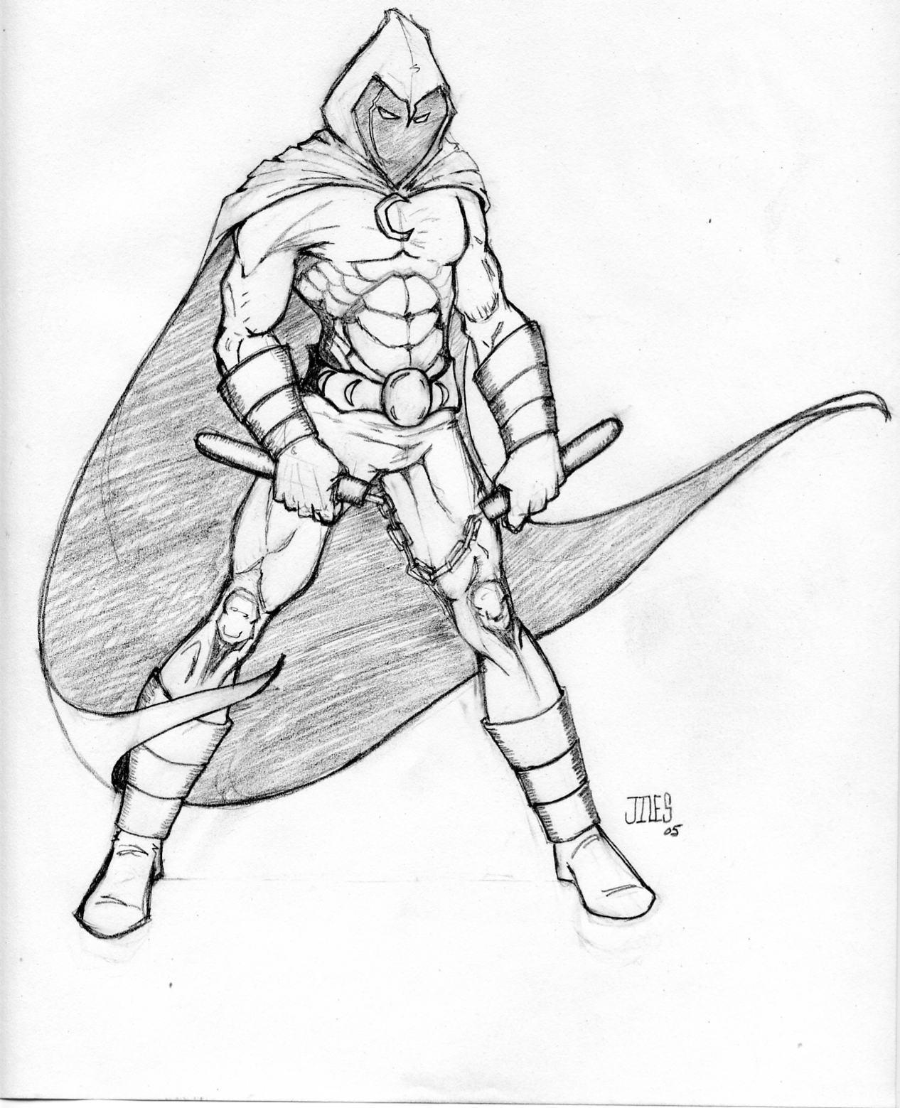 Line Drawing Knight : Moon knight by jiles on deviantart
