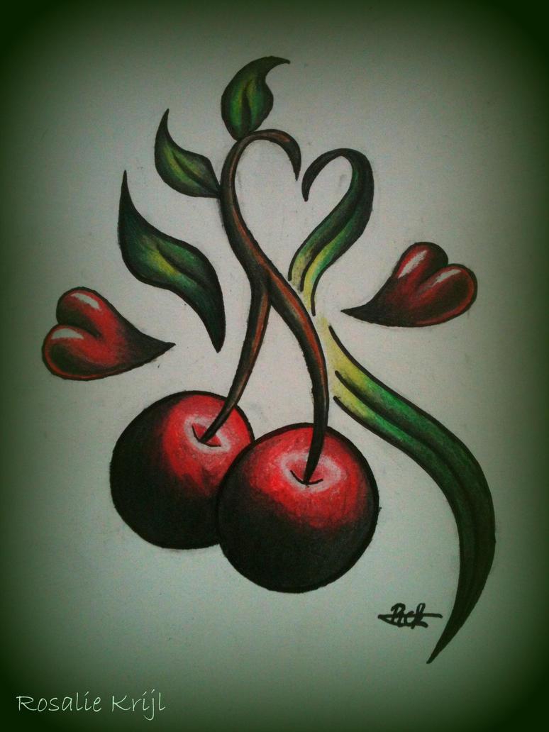 Cherry heart tattoo by rosaliekrijl on deviantart for Cherry bomb tattoo parlor perth