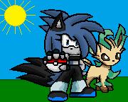 Trainer Dez with her Pokemon by BluethornWolf