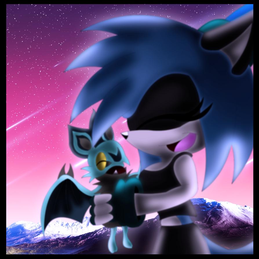 Hugging Noibat -colored- by BluethornWolf