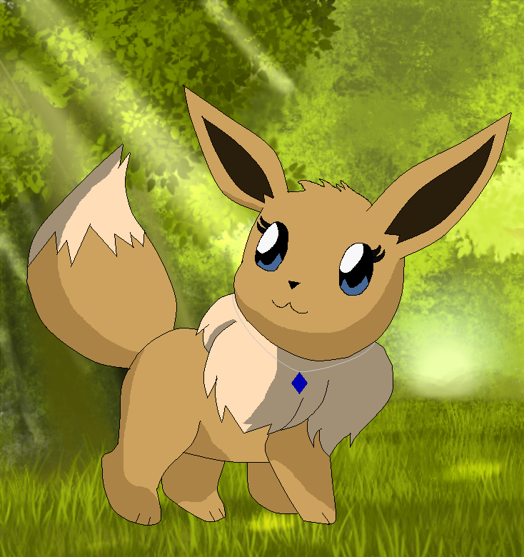 Dez Eevee In The Forest by BluethornWolf