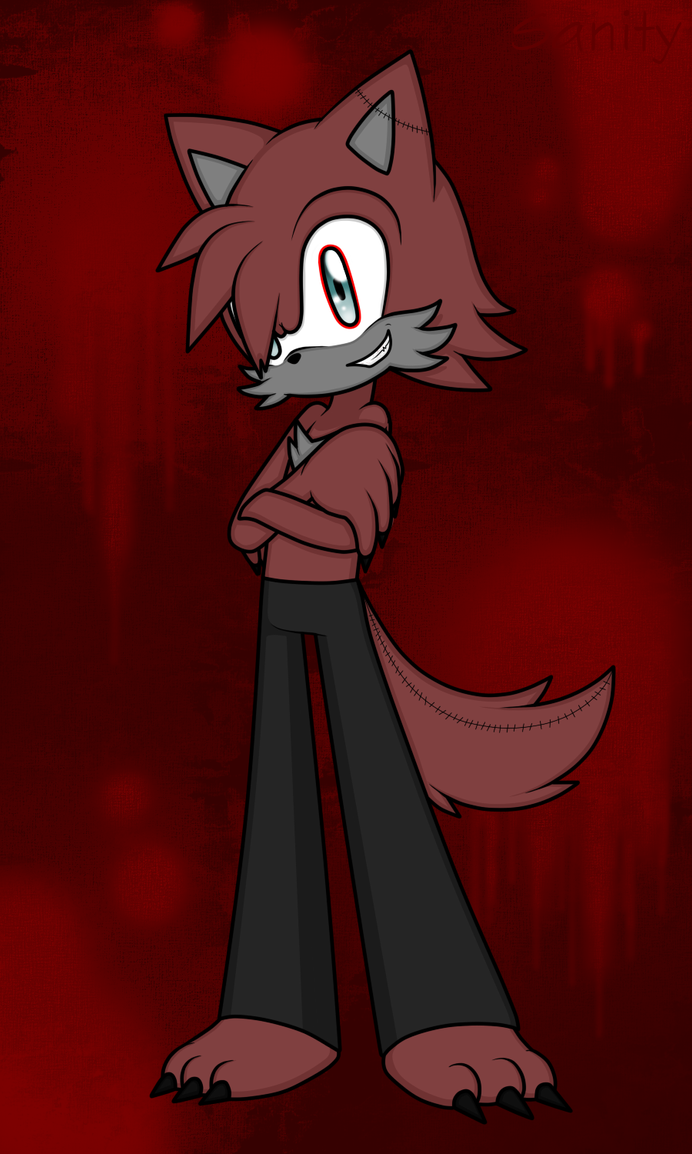 Sanity the Insane Wolf (info/bio) by BluethornWolf