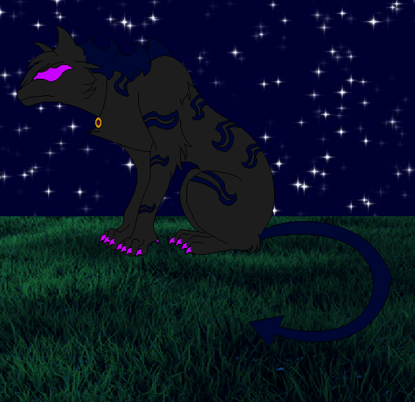 Nerco staring at the night sky by BluethornWolf