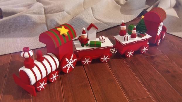 3d wooden christmas train