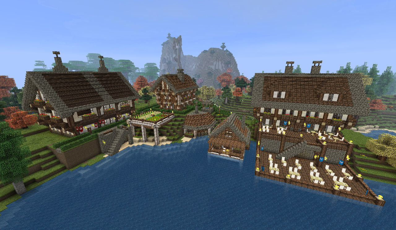 Minecraft Lakeside Town Overview By Shroomworks On Deviantart