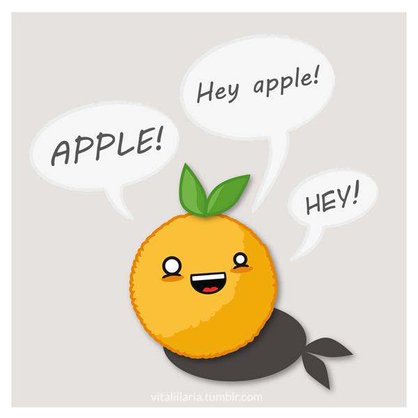 [ Orange Crush ] Si vous aimez les oranges, eh bien, vous allez m'adorer !  (En cours) Hey_apple__the_annoying_orange___vector_by_yayaoo-d4tf2pr