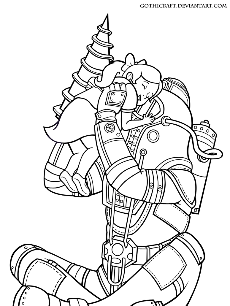 Zoella Line Drawing : Bioshock free colouring pages