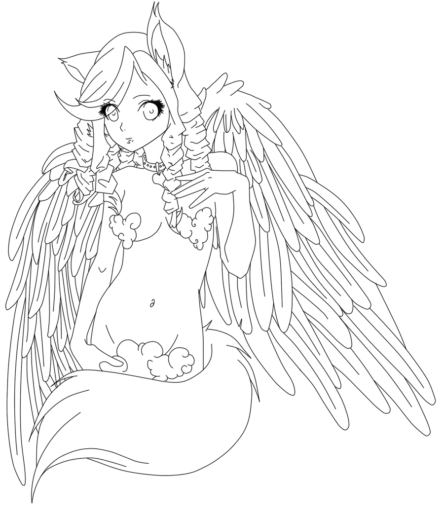 Kitsune Angel Lineart By Some Wench On DeviantArt