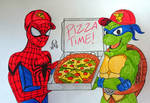 Spidey and Leonardo Pizza Time