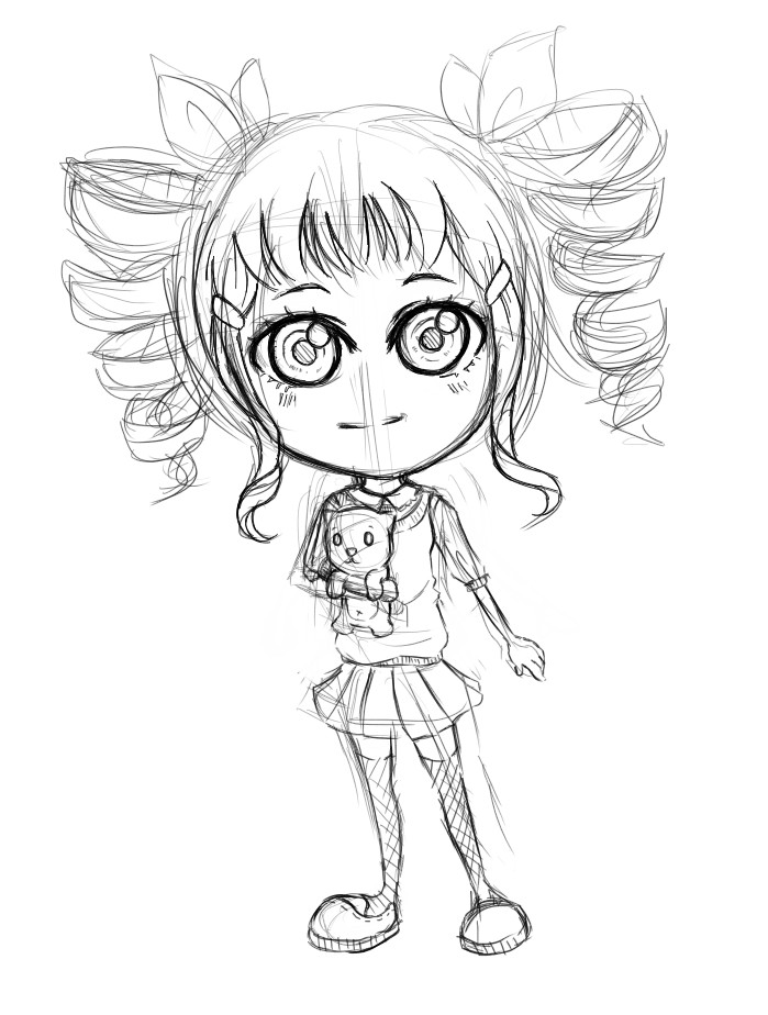 Chibi Chibi Girl (sketch) By Ken247 On DeviantArt