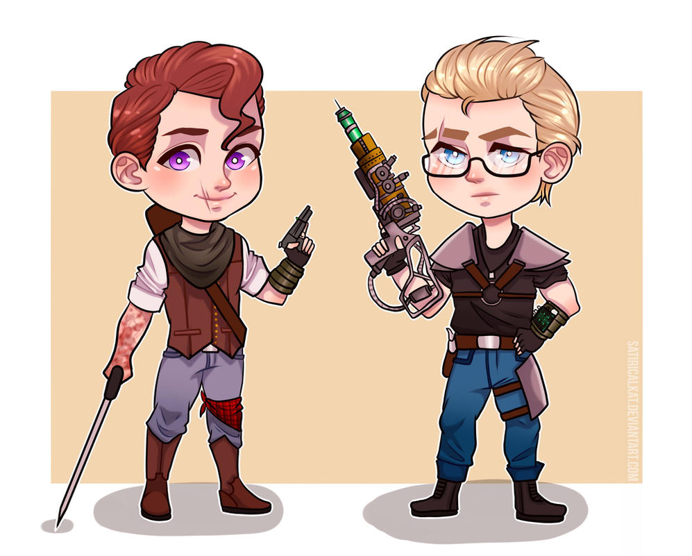 Fallout 3 Anime Characters : Fallout gabriel and michael chibi by satiricalkat on