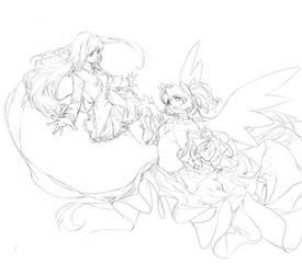 Madoka and Homura sketchy lineart
