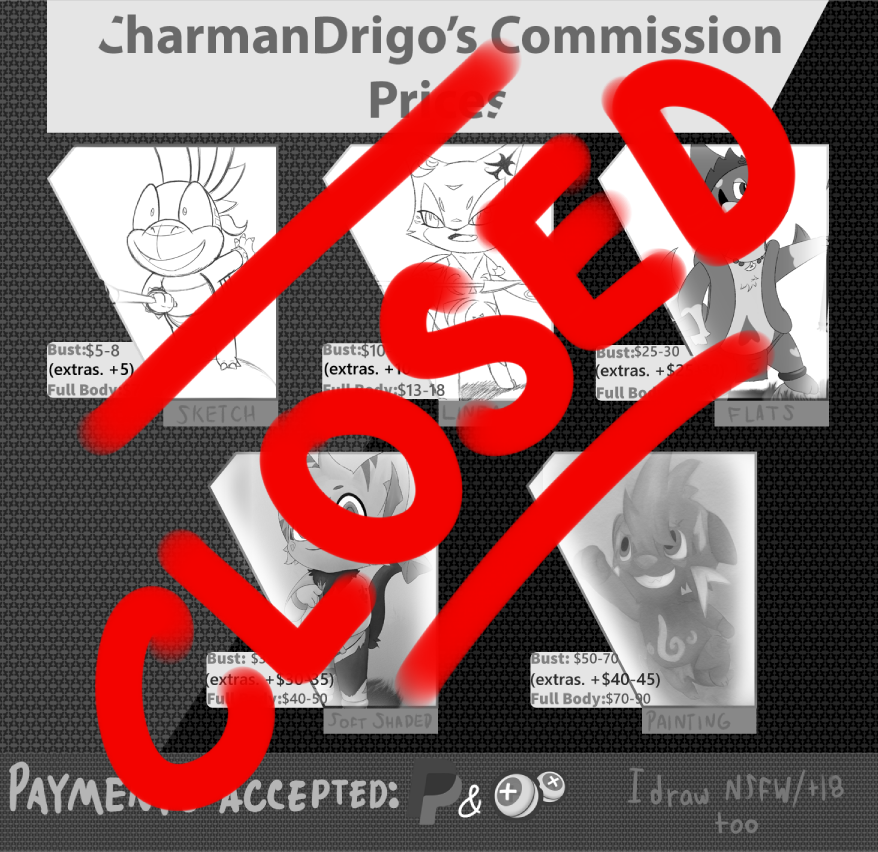 Charmandrigo's Commissions! (Closed) by CharmanDrigo