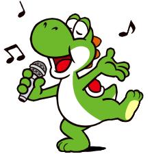 Yoshi barefoot singing (Sticker)