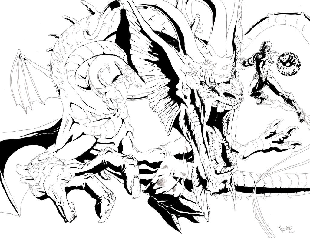 Fin Fang Foom vs Iron Man Inks by TGping