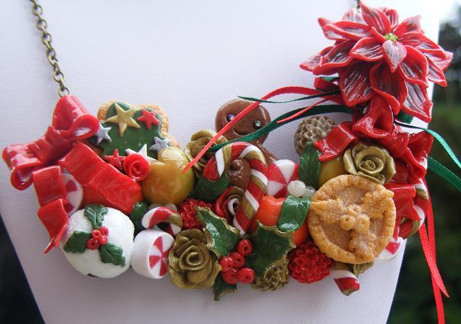 Polymer Christmas Bib Necklace by cynamonspice