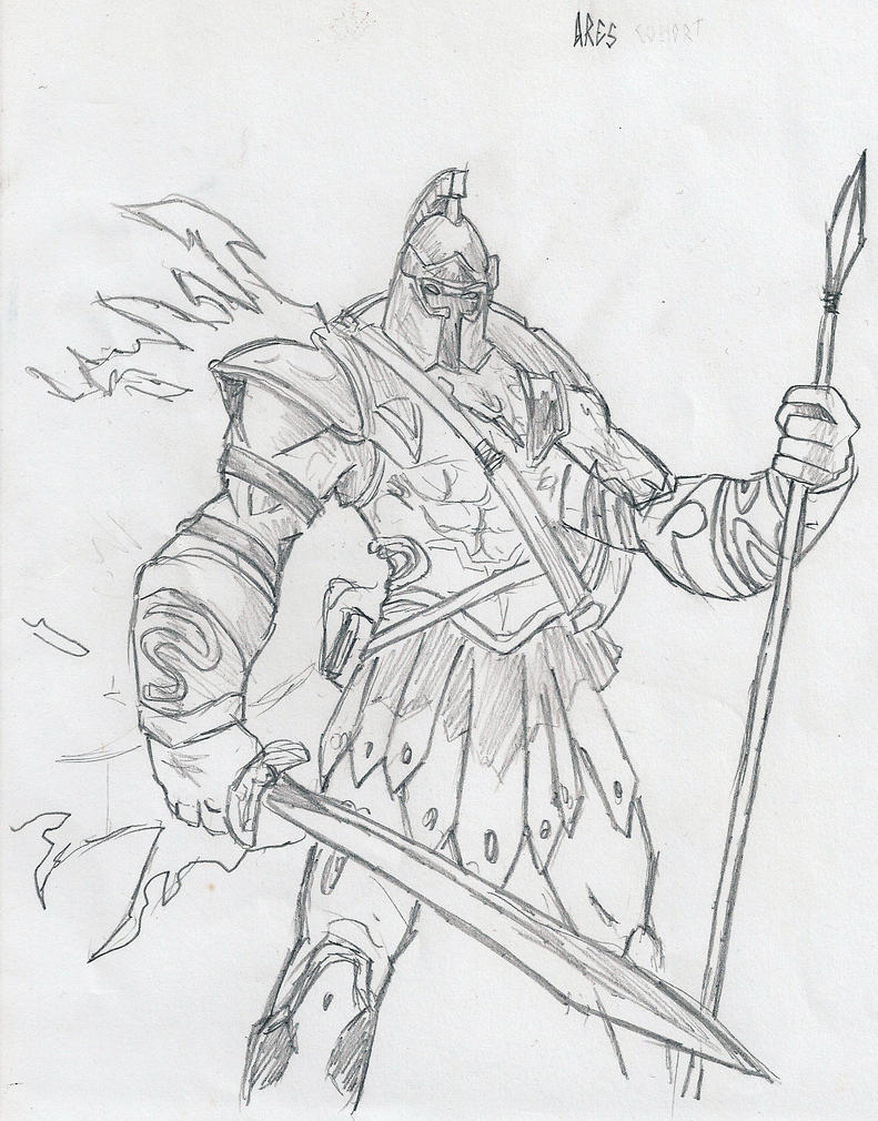 Greek God Ares Drawing Ares, God of War by th...
