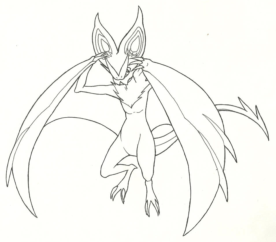 Putty Line Drawing Q : Noivern line art by ominousecho on deviantart