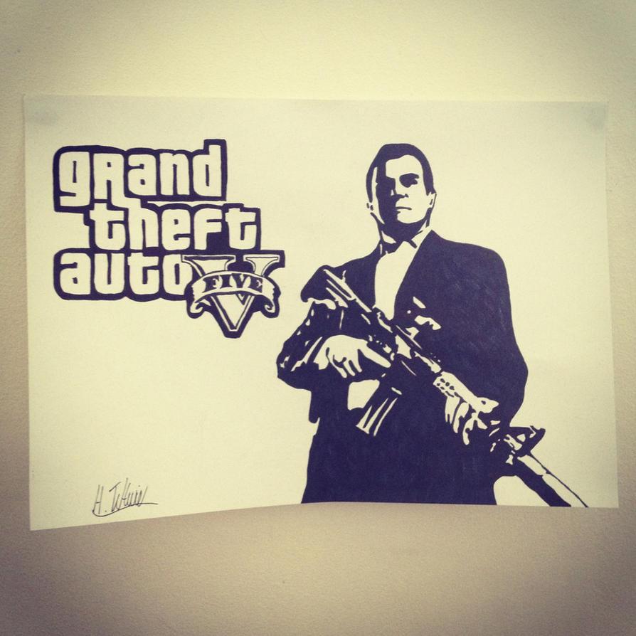 Grand Theft Auto V Stencil by Hillbro