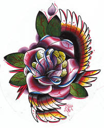 Traditional tattoo Rose by speakproper