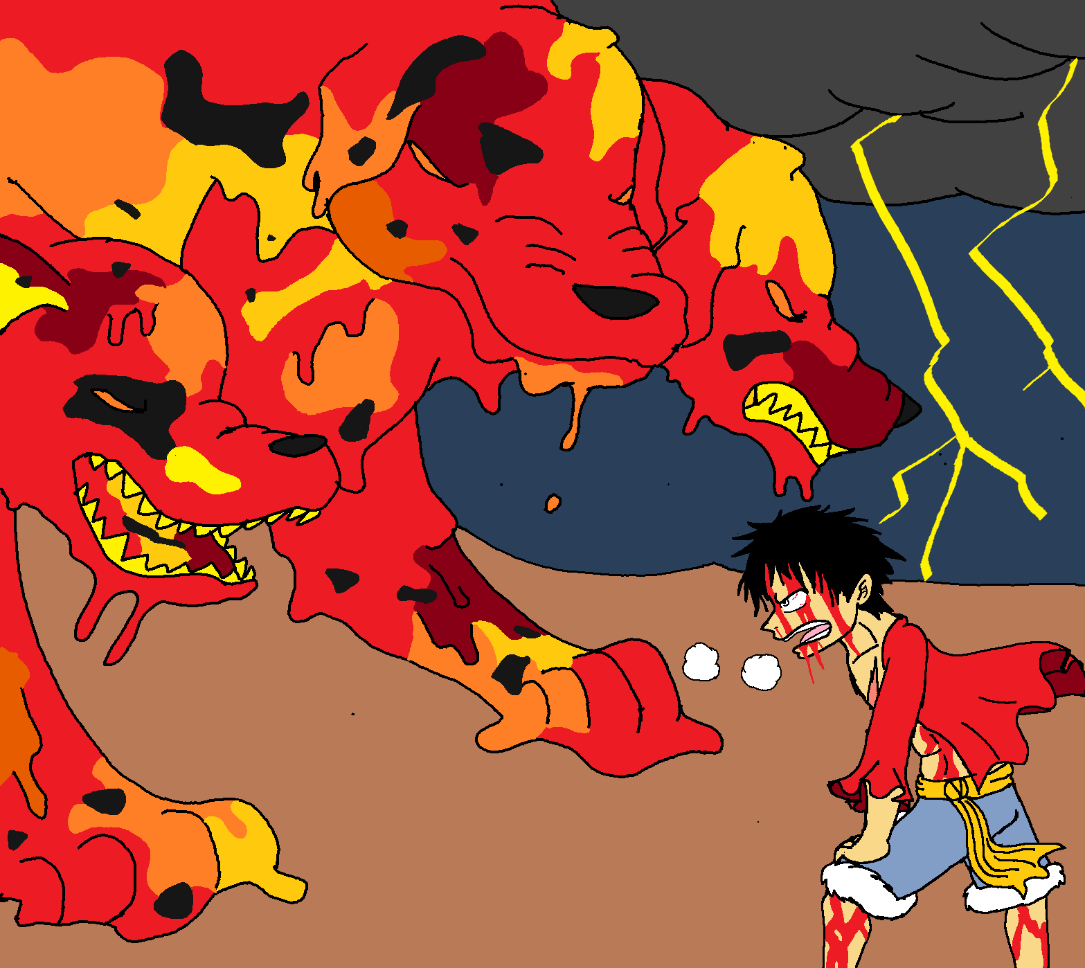Blackbeard And Luffy: Luffy Vs Akainu's Magma Cerberus By XfangheartX On DeviantArt