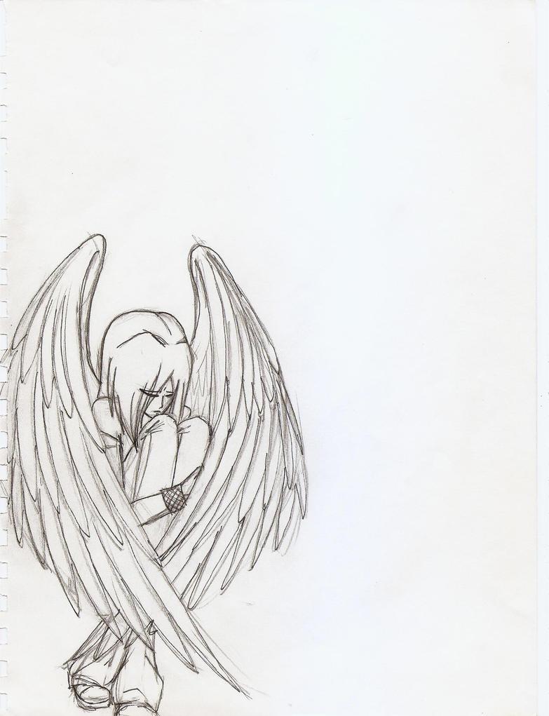 Easy Sad Angel Drawings 65104 Loadtve