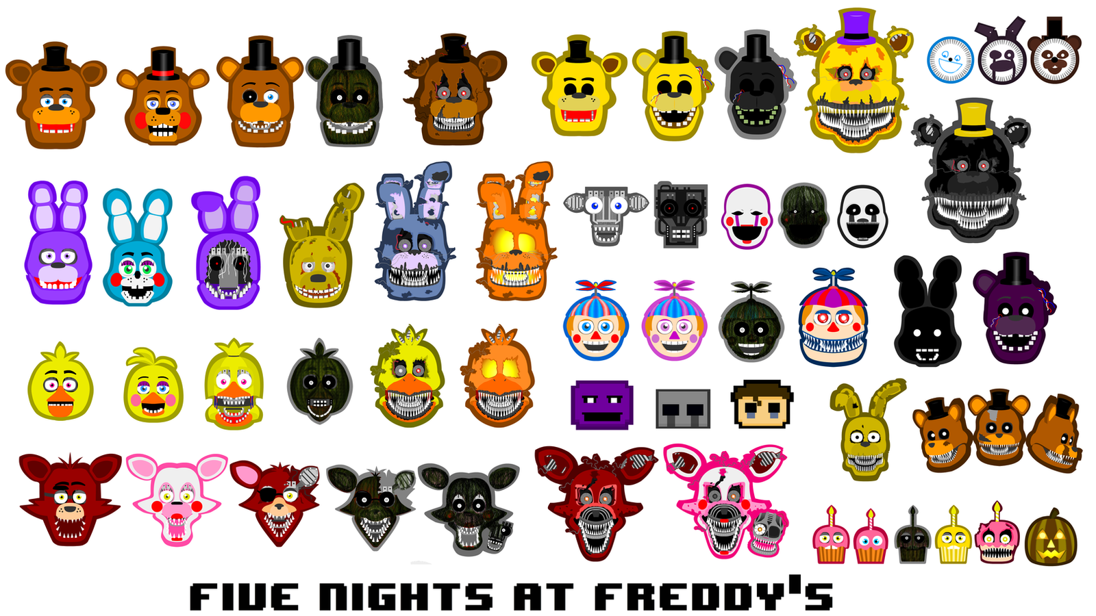 Fnaf all characters by hookls on deviantart
